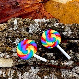 Candy lollipop earrings 925 silver handmade gift